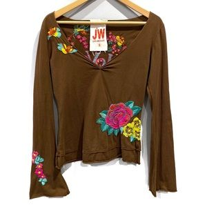 | Johnny Was | embroidered floral long sleeve top